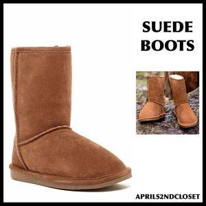 GENUINE SUEDE SHEARLING LINED TAN BOOTIES